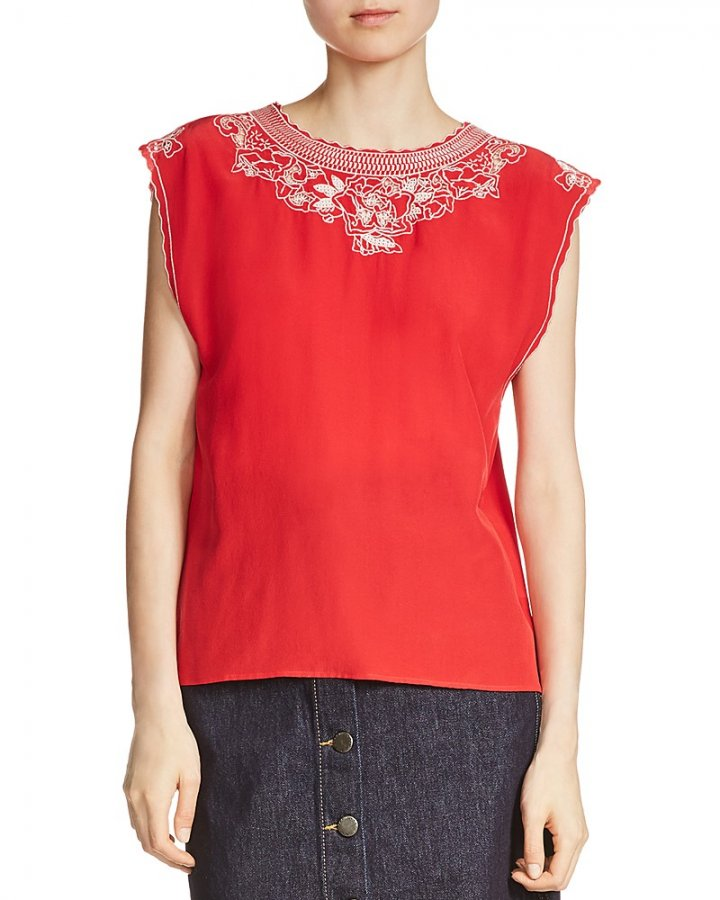 London Embroidered Silk Top