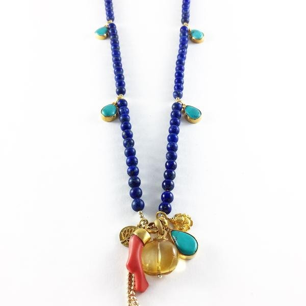 Lapis and Turquoise Mala Necklace