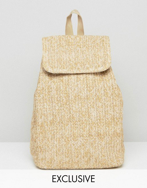 Reclaimed Vintage Straw Backpack