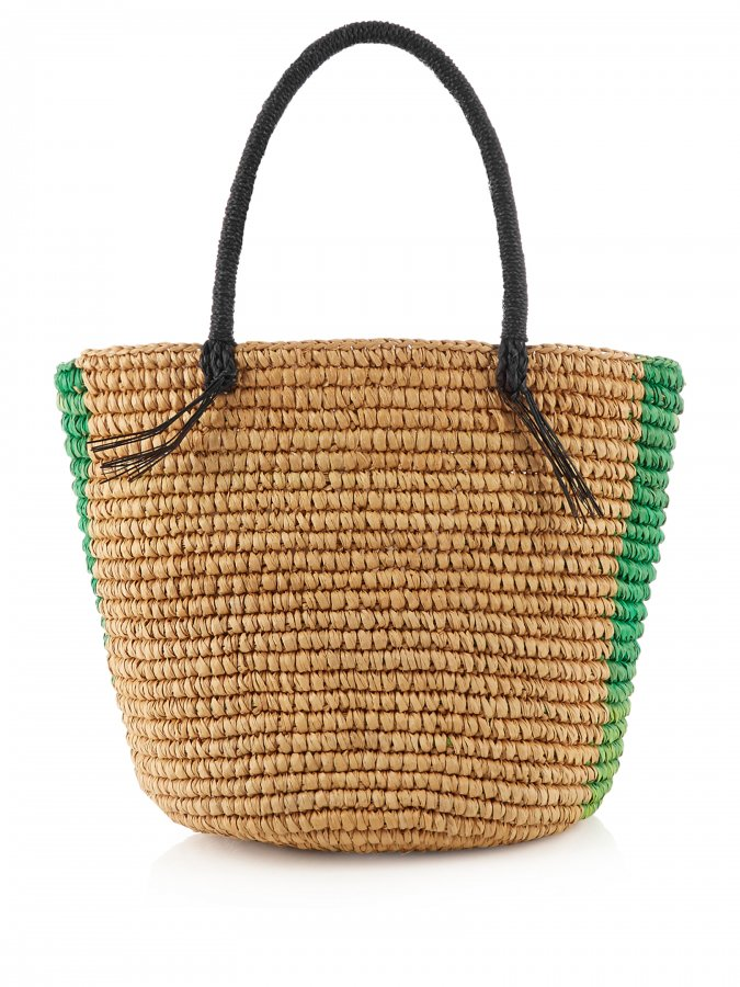 Striped woven-straw tote