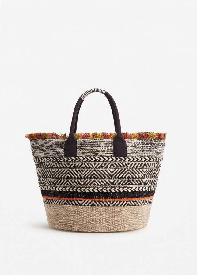 Embroidered Cotton Basket Bag