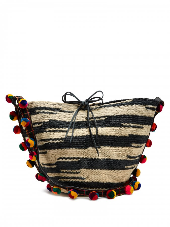Akela pompom-embellished sisal cross-body bag