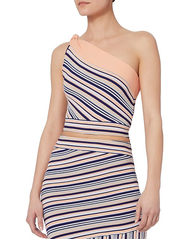 Ibis Striped One Shoulder Top