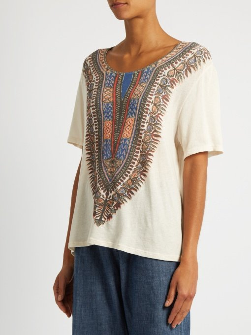 Tribal-print cotton T-shirt