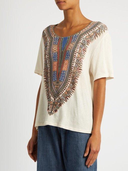 Tribal-print cotton T-shirt