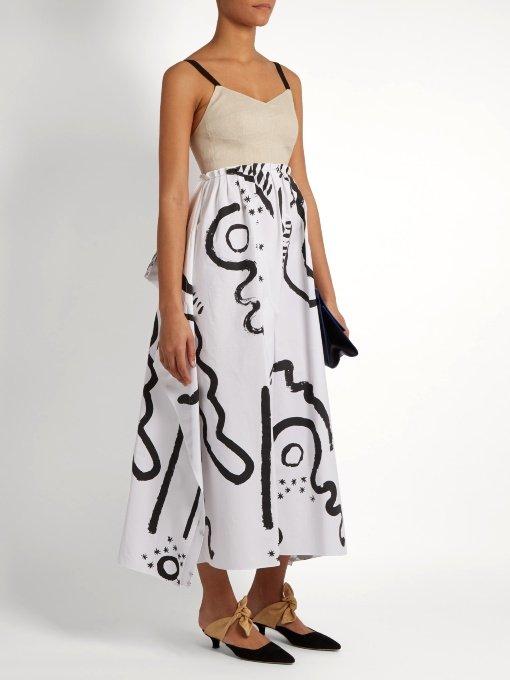 Tribal-print cotton and linen-blend bustier dress