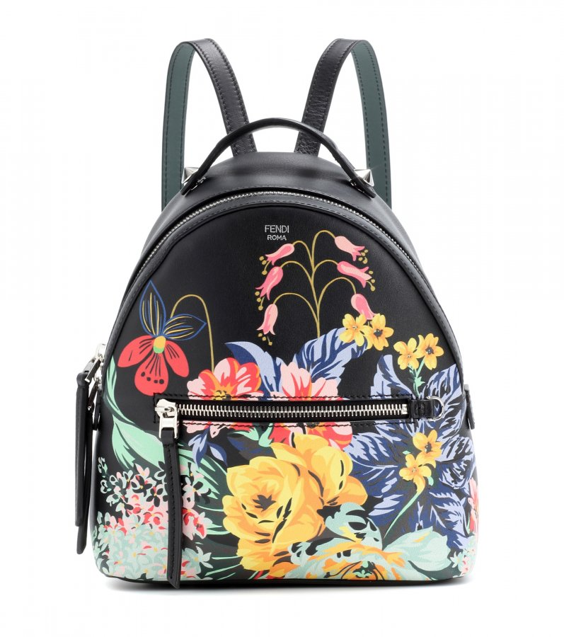 Mini printed leather backpack
