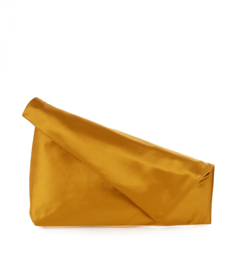 Fold-over satin clutch