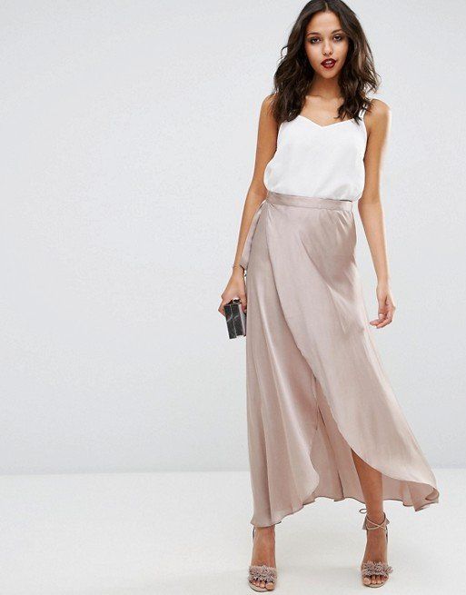 Maxi Wrap Skirt in Satin