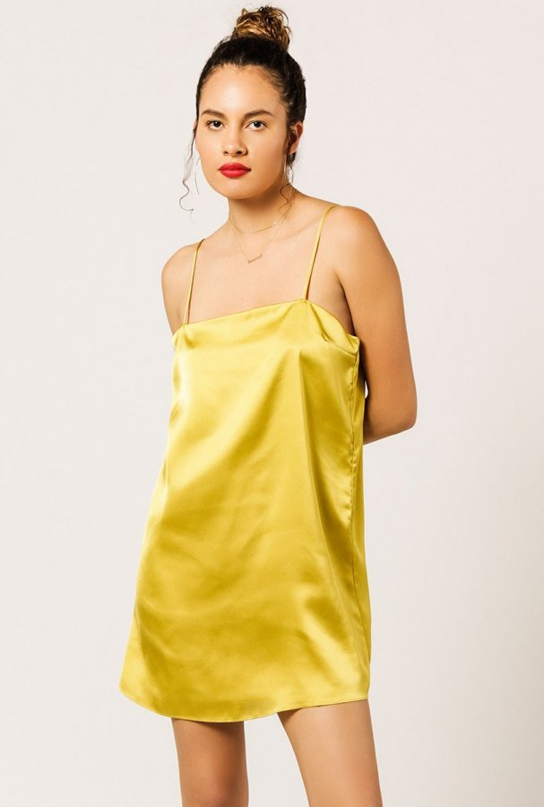 Strappy Satin Mini Dress