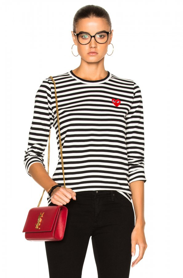 PLAY Cotton Red Emblem Stripe Tee