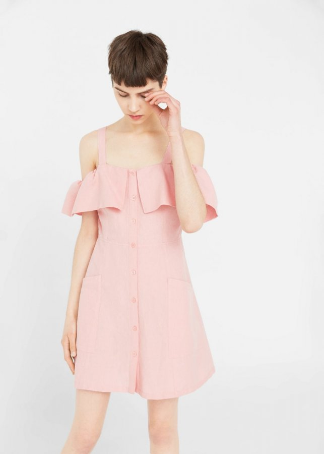 Off-shoulders Linen Dress