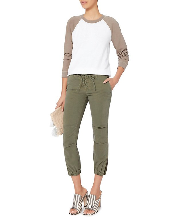 Lace-Up Crop Military Pants