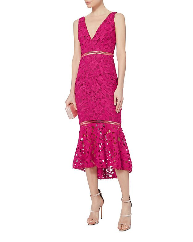 Pink Trumpet Hem Lace Dress