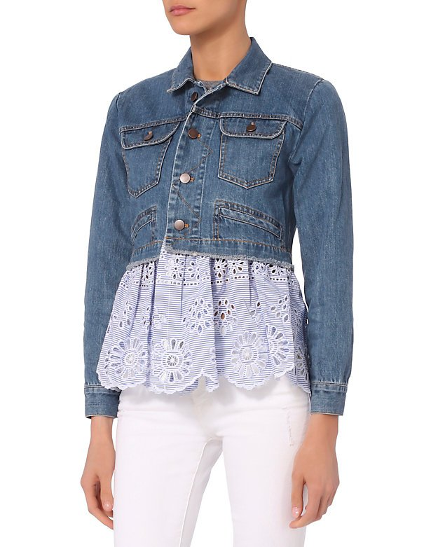 Denim Eyelet Combo Jacket