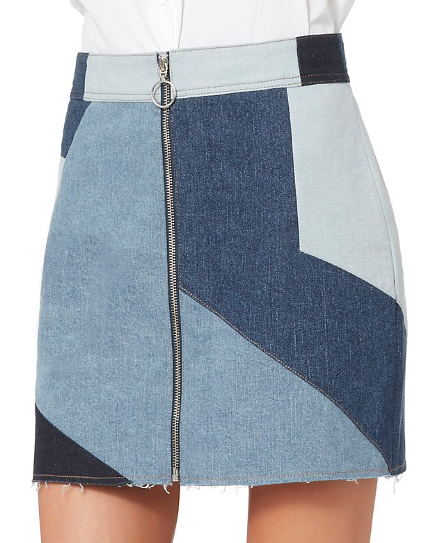 Parker Denim Patchwork Mini Skirt
