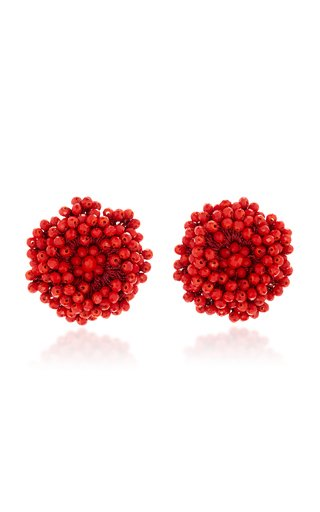 Red Beaded Blossom Earrings
