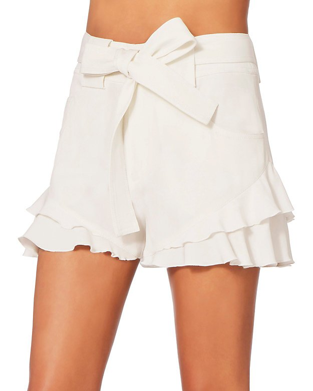 White Crepe Ruffle Shorts