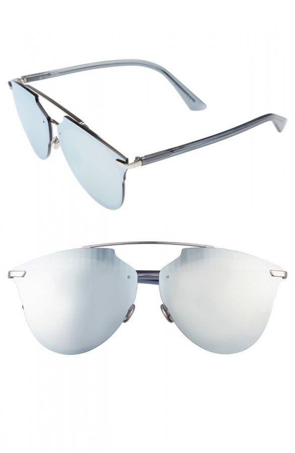 Oversize Mirrored Brow Bar Sunglasses