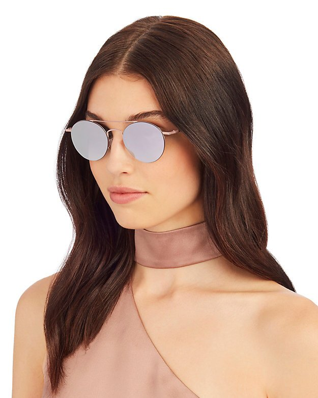 Rose Mirrored Round Sunglasses