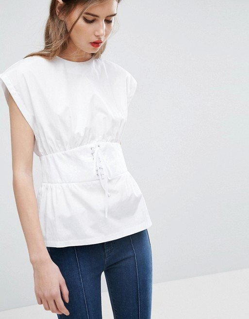 Cotton Top with Corset Detail