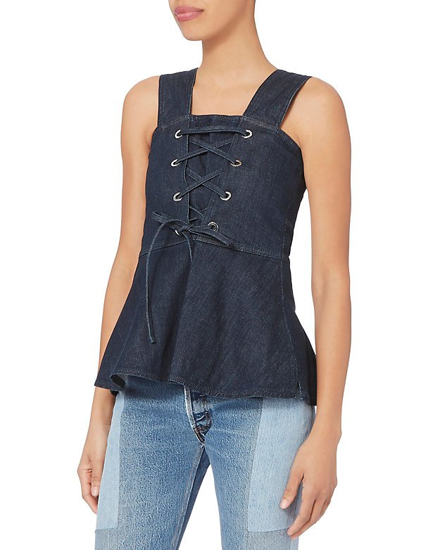 Lace-Up Denim Peplum Top