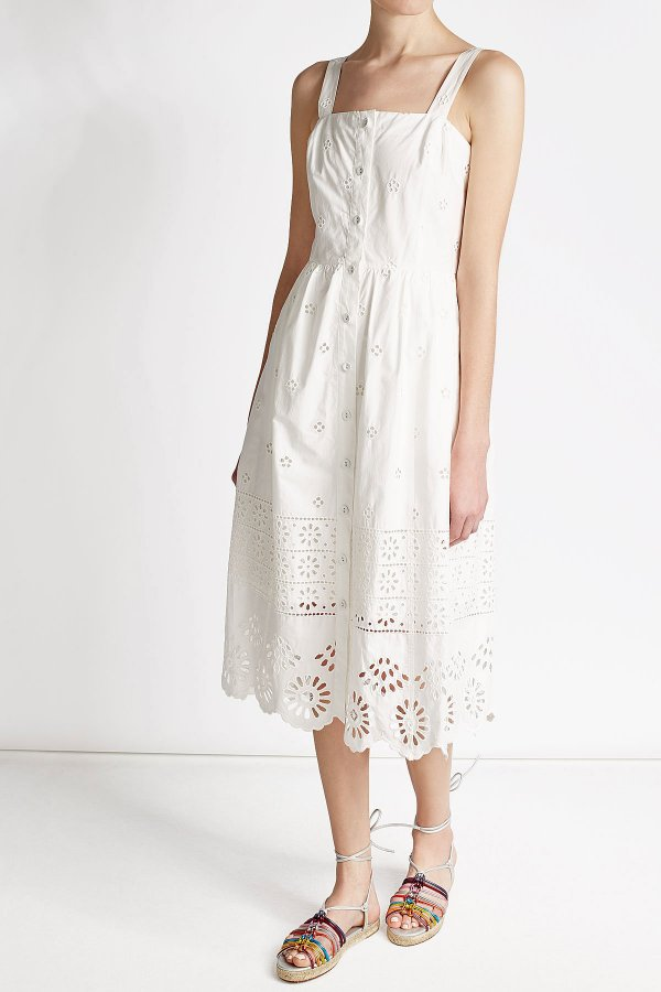Cotton Dress with Cut-Out Detail