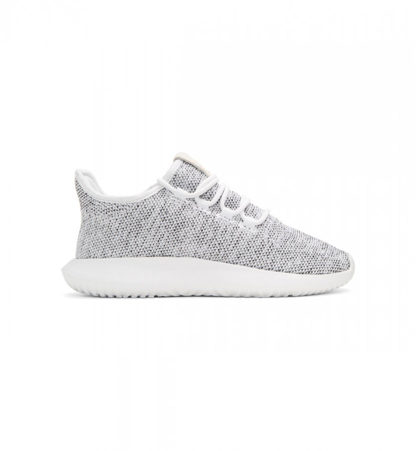 White Knit Tubular Shadow Sneakers