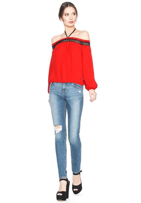 ESMERALDA OFF SHOULDER TIE NECK TOP