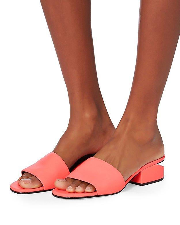 Lou Coral Leather Slide Sandals