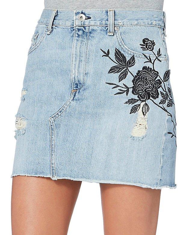 Ramona Embroidered Denim Mini Skirt