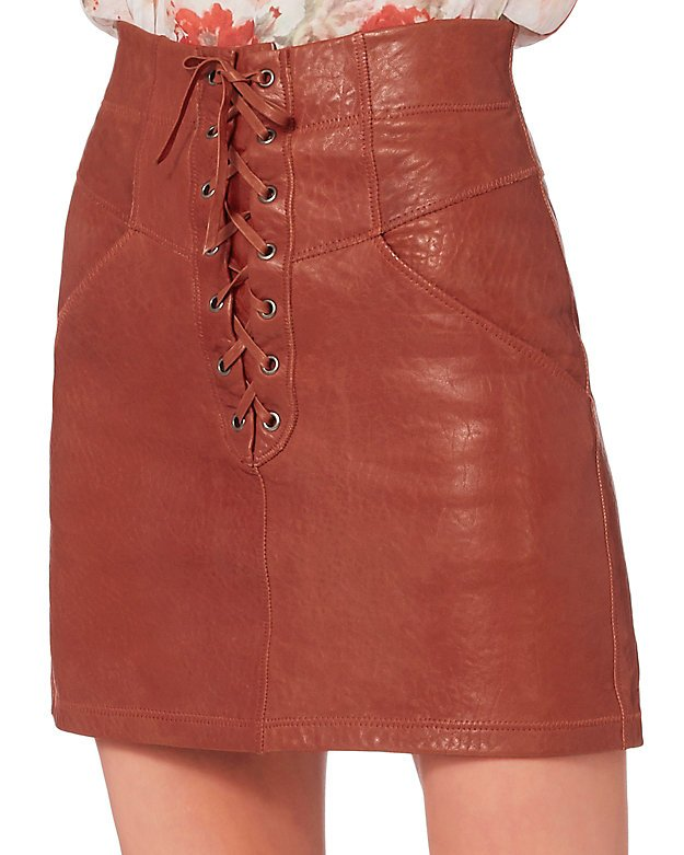 Leather Lace-Up Mini Skirt