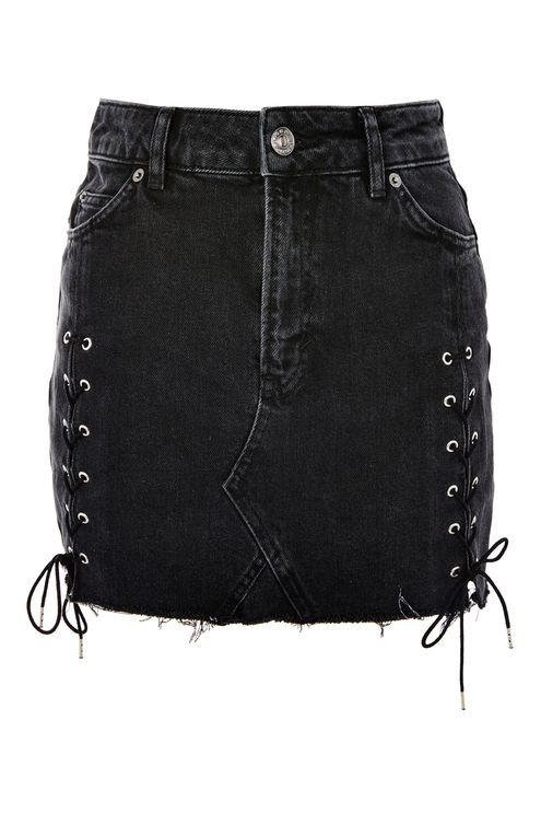 MOTO Lace Up Denim Mini Skirt