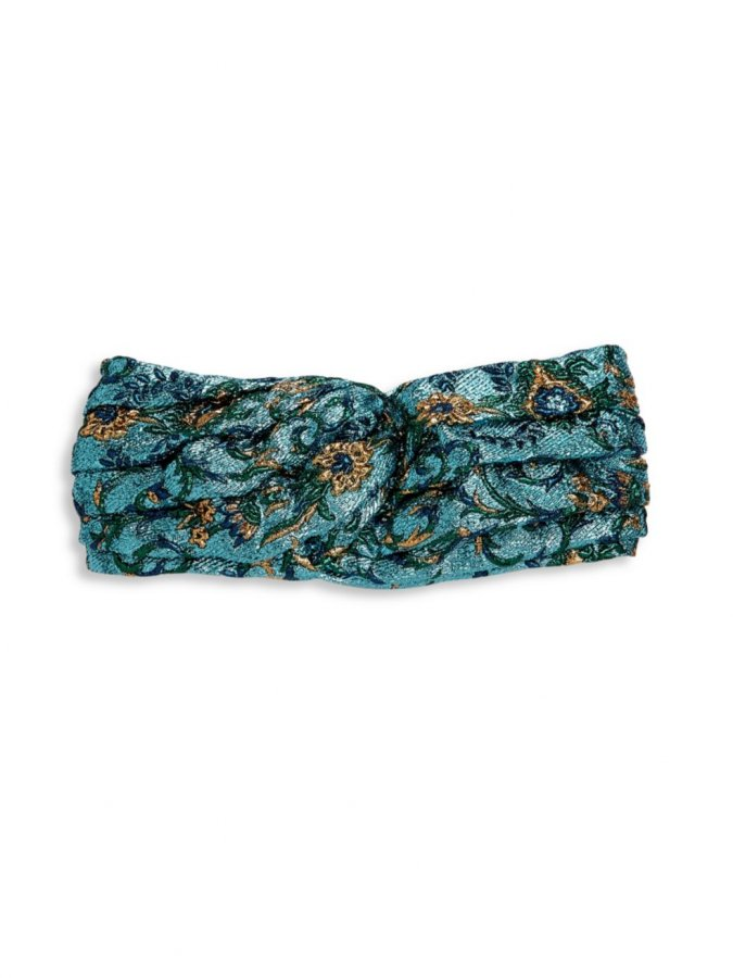 Floral-Embroidered Metallic Headband