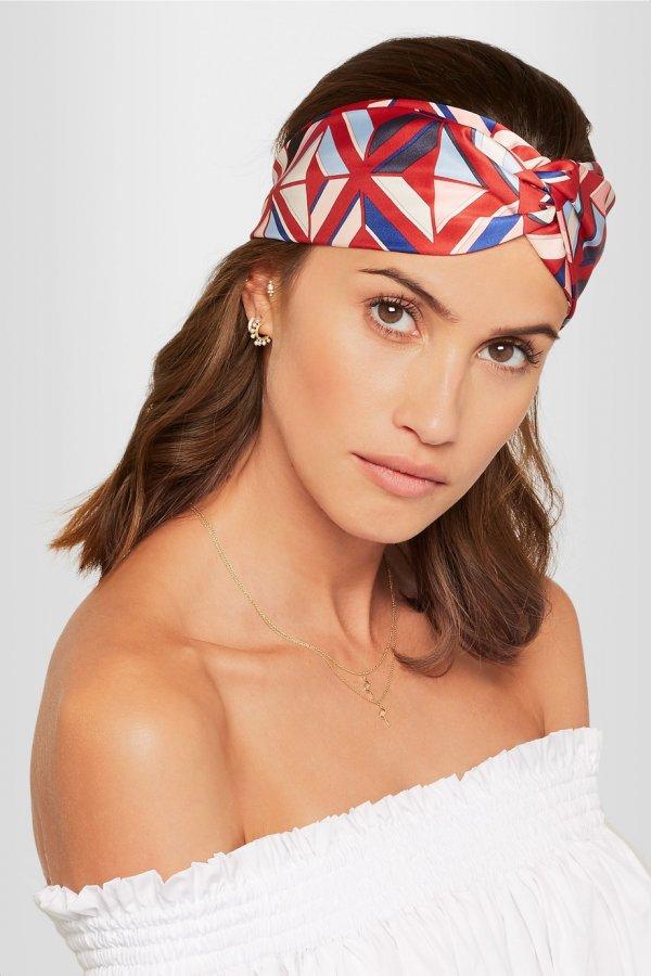 Printed silk-twill headband