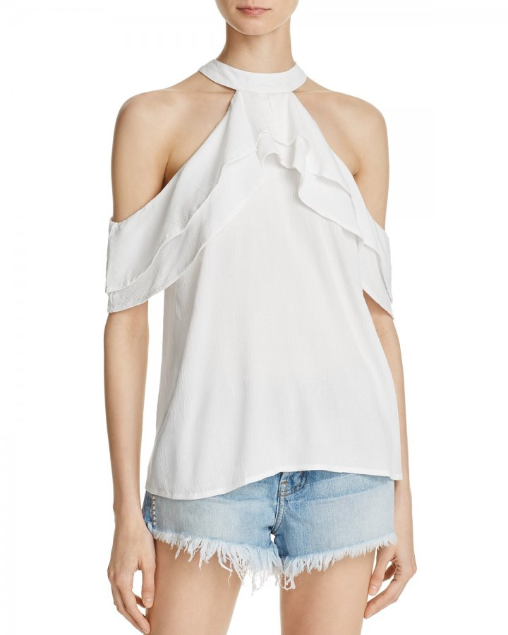 Ruffle Cold-Shoulder Top