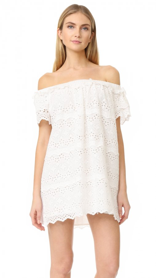 Eyelet Off Shoulder Dress