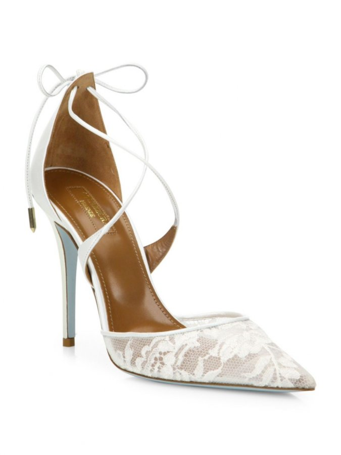 Matilde Lace & Leather Bridal Pumps