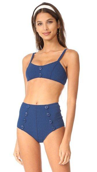Genevieve Button High Waist Bikini