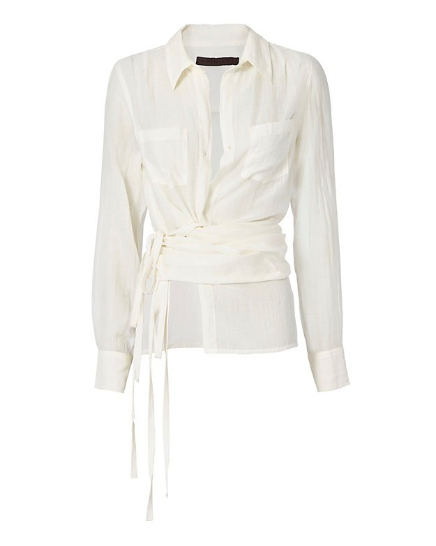 Roux Off White Wrap Shirt