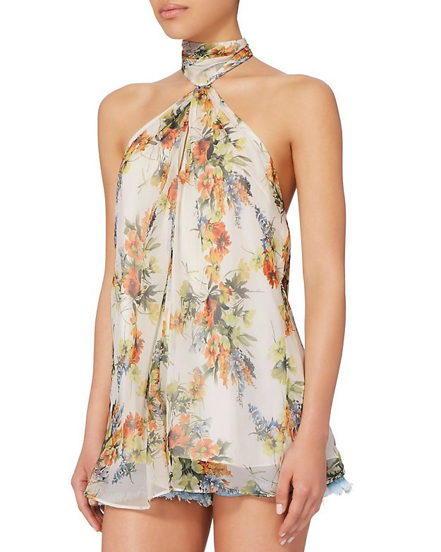 Floral Chiffon Keyhole Top