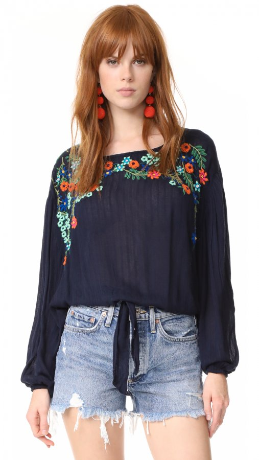 Up And Away Embroidered Top