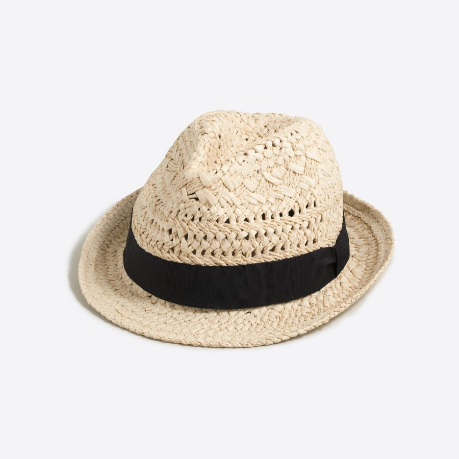 Straw fedora with ribbon