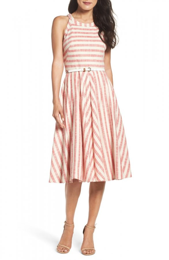 Stripe Fit & Flare Midi Dress