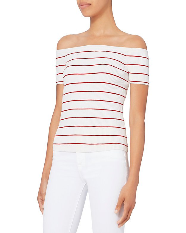 Ariana Off Shoulder Striped Knit Top