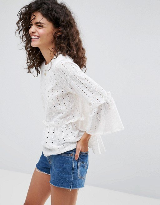 Casual Smock Top In Broderie