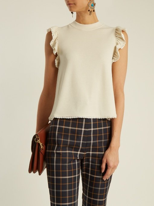 Frill-sleeve crepe-jersey top