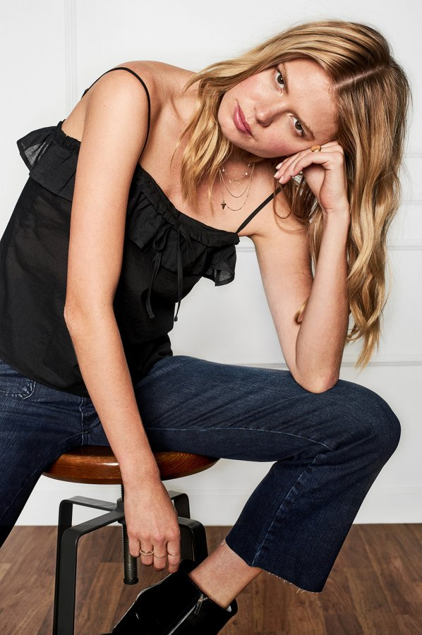 Black Cotton Frill Camisole