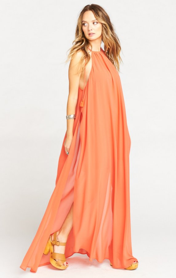 Rochester Maxi Dress ~ Papaya Chiffon