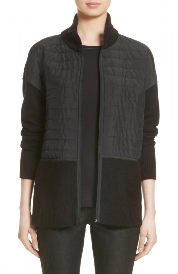 New York Quilted Zip Front Cardigan